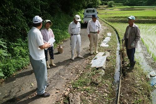 水路嵩上げ作業説明